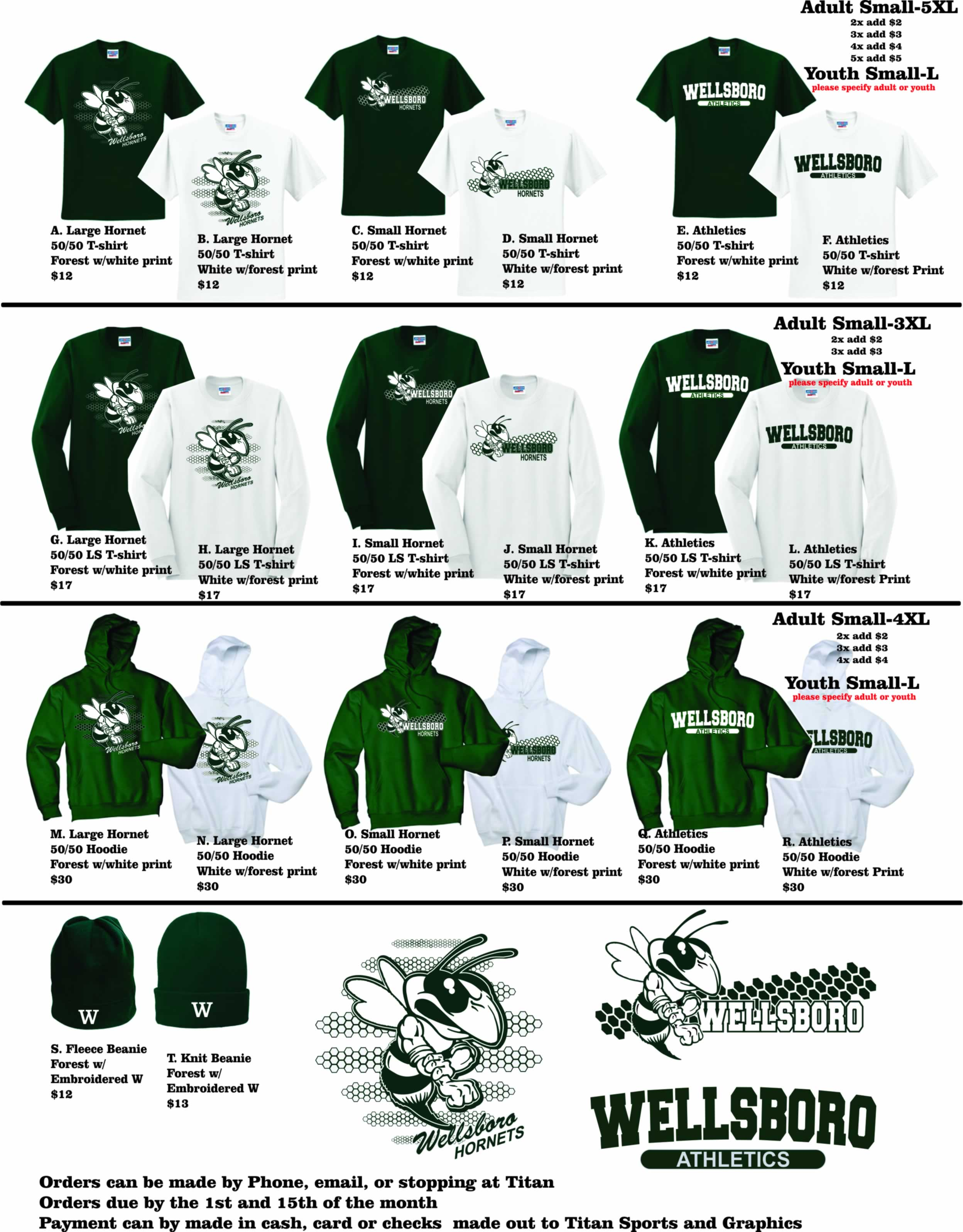 Buy your official Wellsboro Hornets Merchandise from Titan Sports & Graphics